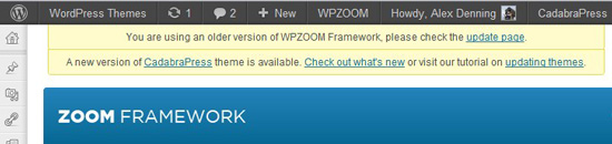 An update nag for one of WPZOOM's themes.