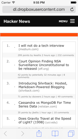 Hacker News' HTML, with Foundation's responsive top bar added by transformations