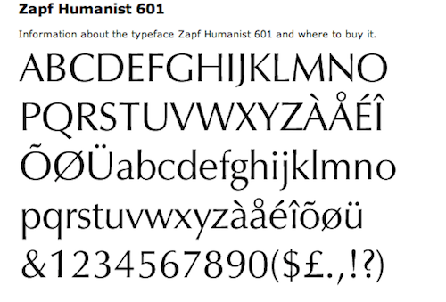 Zapf Humanist Typeface
