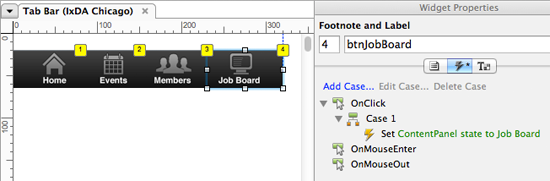 Setting up behaviors for the tab bar using OnClick events