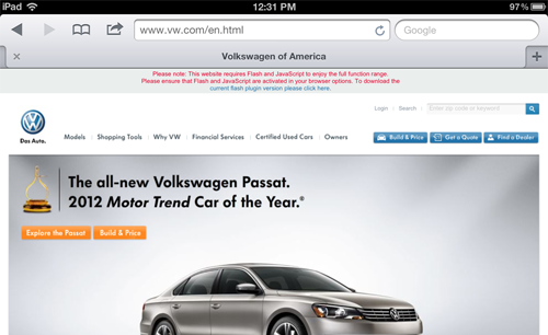 VW asks iPad users to download an unsupported Flash plugin