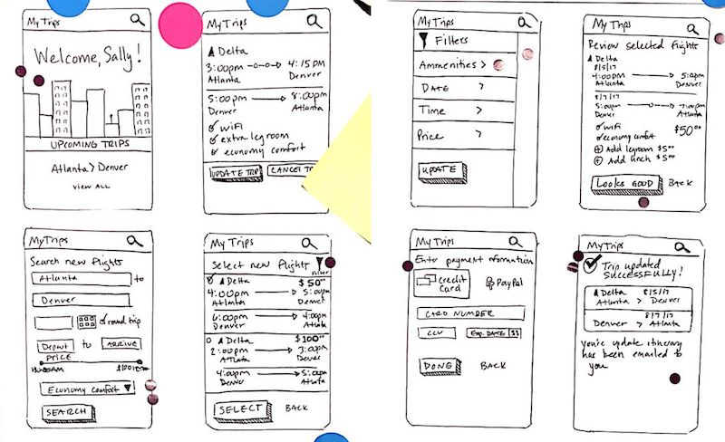 Example of a winning sprint sketch that was turned into a storyboard and prototype.