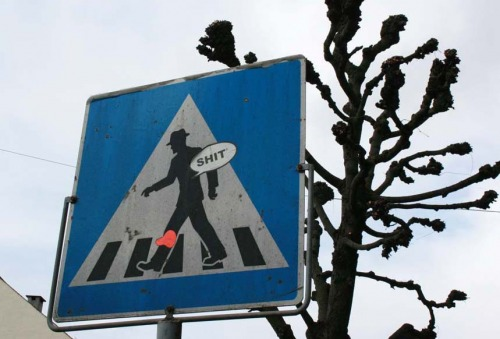 Wayfinding and Typographic Signs - bad-luck-at-the-cross-walk