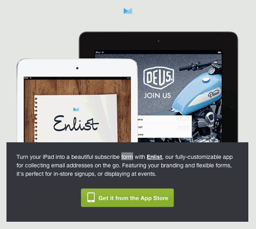 Enlist launch email on the iPad: