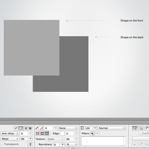 Two vector shapes on the canvas in Fireworks (top) and the