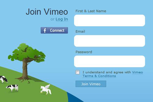 Vimeo.com sign-up form