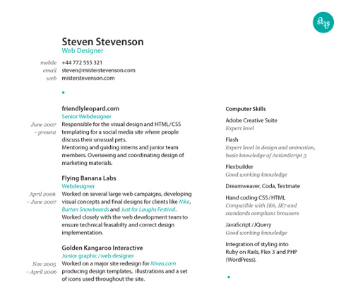 sarah parmenter goes with a solid yellow background and a very prominent photo of steven stevenson who is quite cute she breaks up the copy and puts - Web Designer Resume Examples