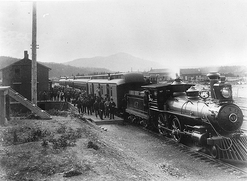 C. P. R. passenger train at Donald Station, BC, about 1887