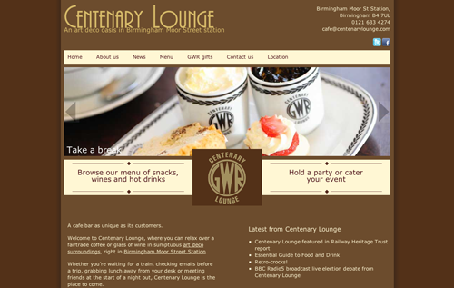 The centenary lounge desktop site includes a large logo and full width slideshow, using shades of brown for text and the background.