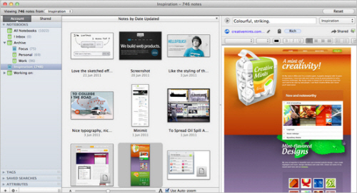 My inspiration gallery in Evernote