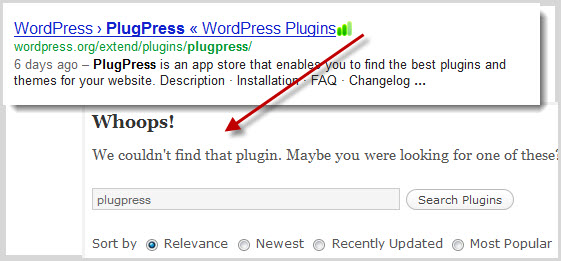 Although Google indexes PlugPress as being in the WordPress repository, the link is now dead