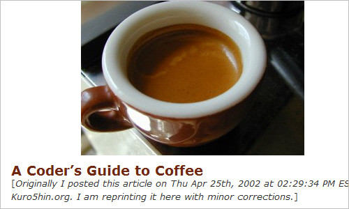 A Coder's Guide to Coffee