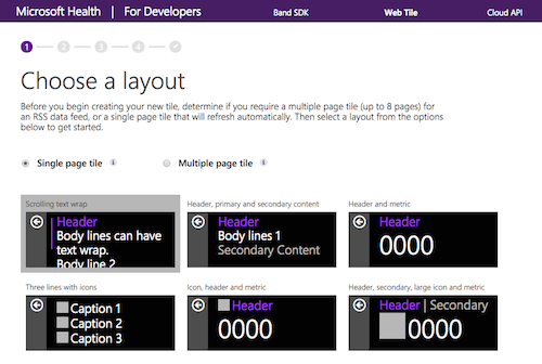 Microsoft Band also supports web tiles