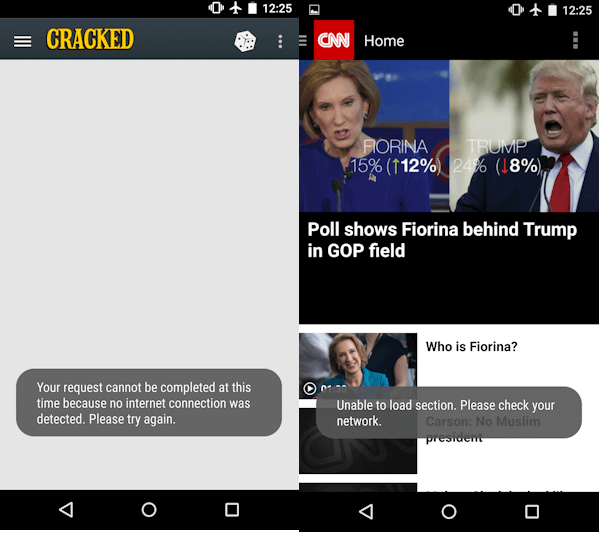 CNN app provides a better user experience by caching the last view and providing users with the headlines for the articles that were last loaded.