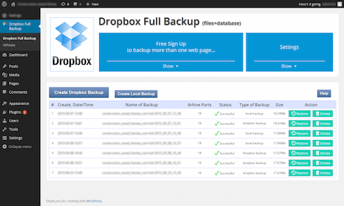Dropbox Backup & Restore in action