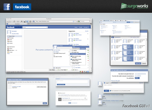 Free wireframing kits ui design kits pdfs and resources facebook applications a sizable collection of elements for creating wireframes for facebook applications pronofoot35fo Images