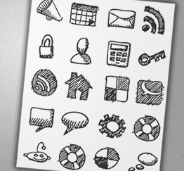 Free Icons Round-Up - Charfish Design - 19 Free hand-drawn sketch icons