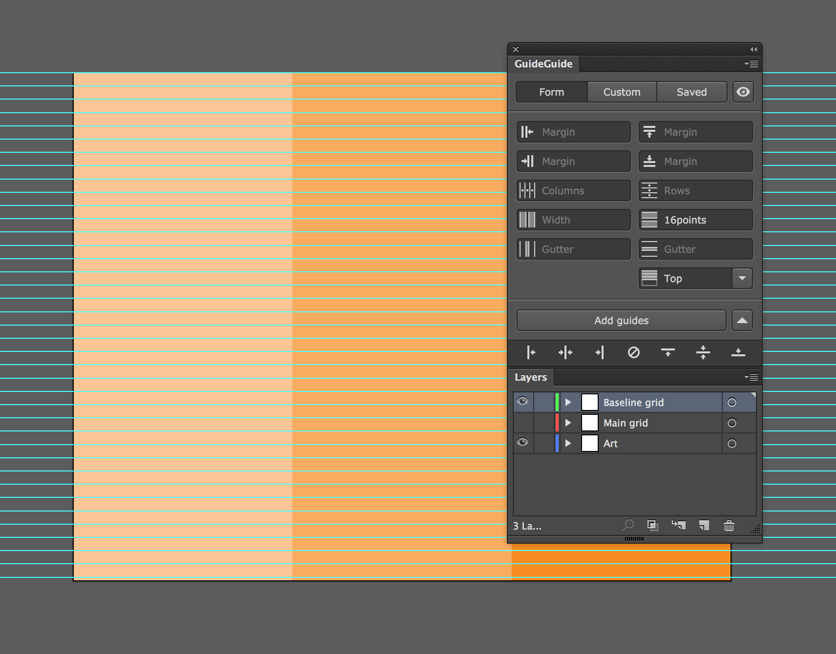 Image of an Illustrator document with a baseline grid created using guides.