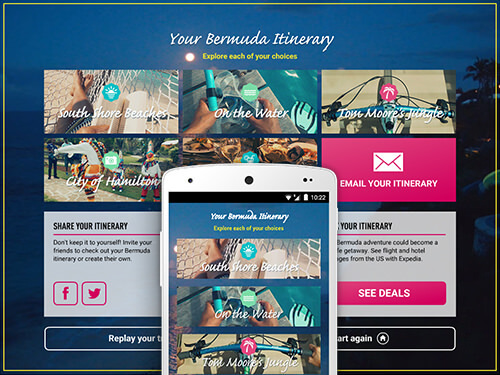 Screenshots showing the itinerary screen of the Bermuda experience