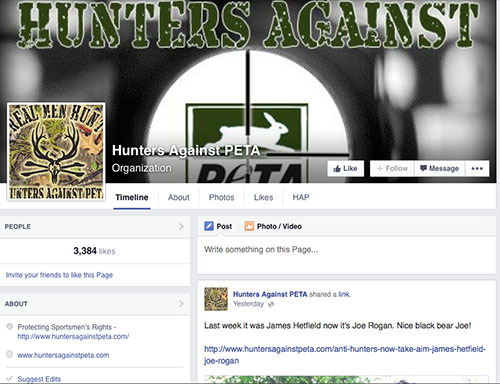 Members of Hunters Against PETA would consider members of PETA as belonging to an out-group