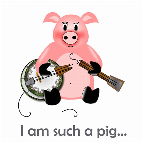 Pig with Broken Banjo by Ani Kostova (created in Adobe Fireworks)