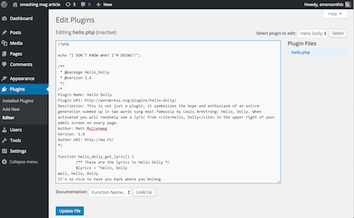 Wordpress plugins editor