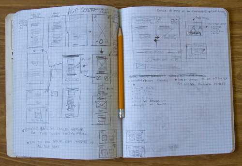 A couple of pages of the early sketch concepts for this tool.