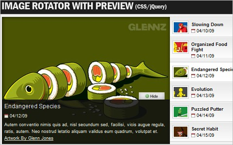 Create an Image Rotator with Description (CSS/jQuery)