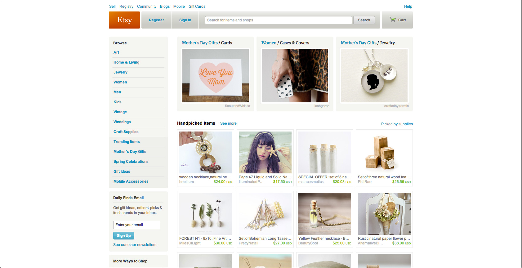 Etsy's Home Page