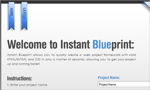 Instant Blueprint - Create a web project framework in seconds.