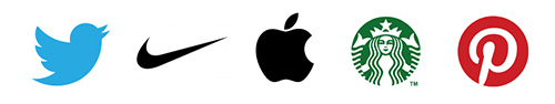 Logos for Twitter, Nike, Apple, Starbucks and Pinterest
