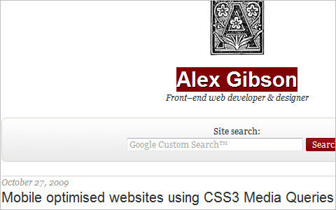 Mobile optimised websites using CSS3 Media Queries