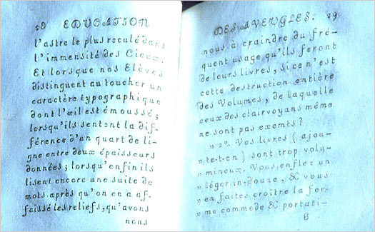 A book typeset by blind children as part of Haüy's plan to make them a 'useful' part of society.