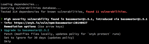 Snyk Wizard Upgrade Bassmaster Prompt