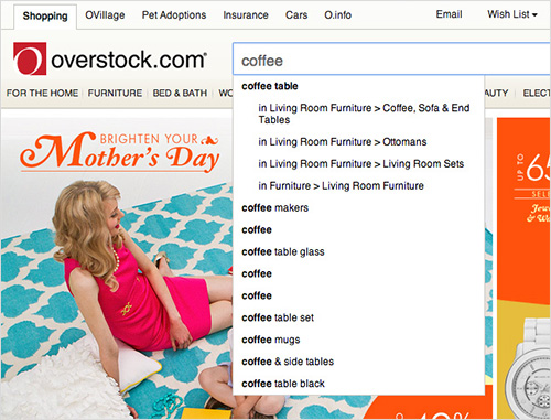 Overstock's autocomplete suggest redundant options