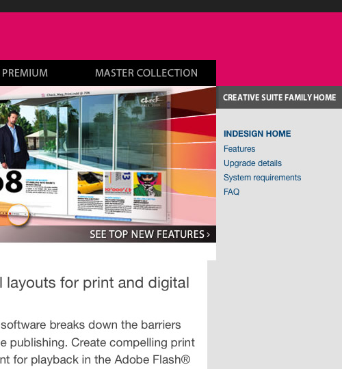 Adobe InDesign CS4 Website Screenshots