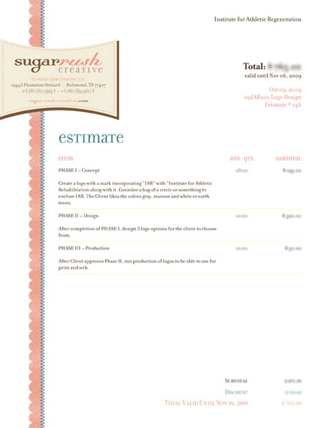 Sugar Rushu0027s Invoice  Design Invoices