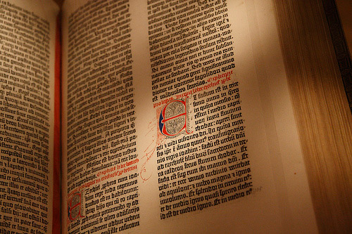 Inside a Gutenberg Bible.