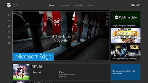 MS Edge on Xbox One