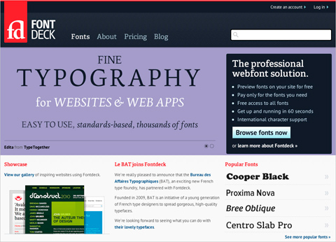 The Fontdeck website
