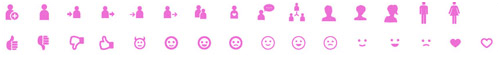People and emotions (human interaction, chatting, groups, avatars, human pictograms, thumbs up and down, faces, love, etc.)