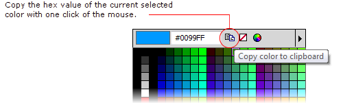 In Fireworks CS5, you can copy the hex value of the current selected color with one click only