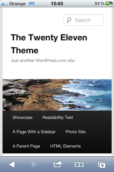 The mobile version of twenty eleven displays a narrower header image and moves the sidebar below the main content.