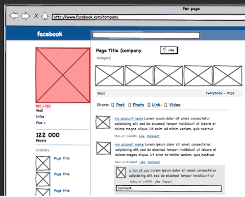 A Balsamiq mock-up of Facebook