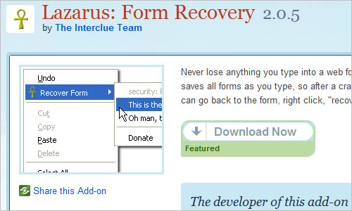 Lazarus: Form Recovery :: Add-ons for Firefox