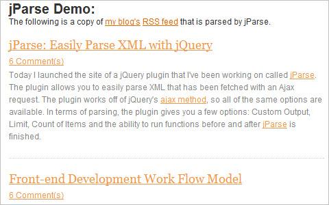 jParse - jQuery XML Parse Plugin
