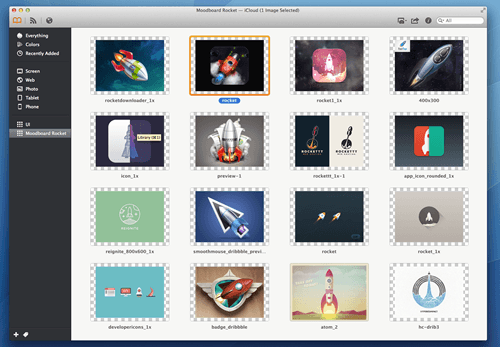 Mood board of rockets made with Ember.