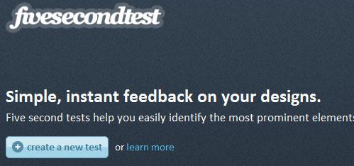 A screenshot of the Five Second Test website header