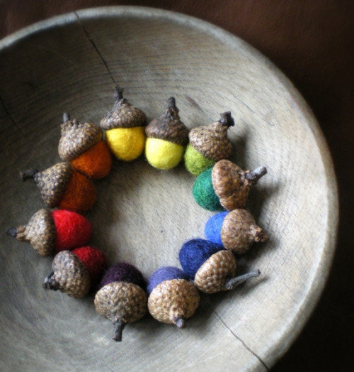 Felted Rainbow Acorns
