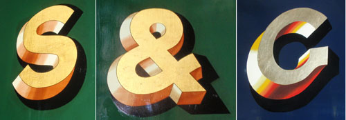 Bold shadowed grotesque letters from Victorian-era trains.